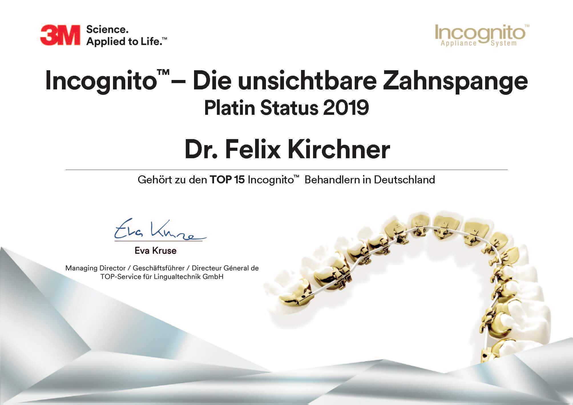KFO Fünf Höfe München Platin-Urkunde Dr. Felix Kirchner - Incognito - Die unsichtbare Zahnspange